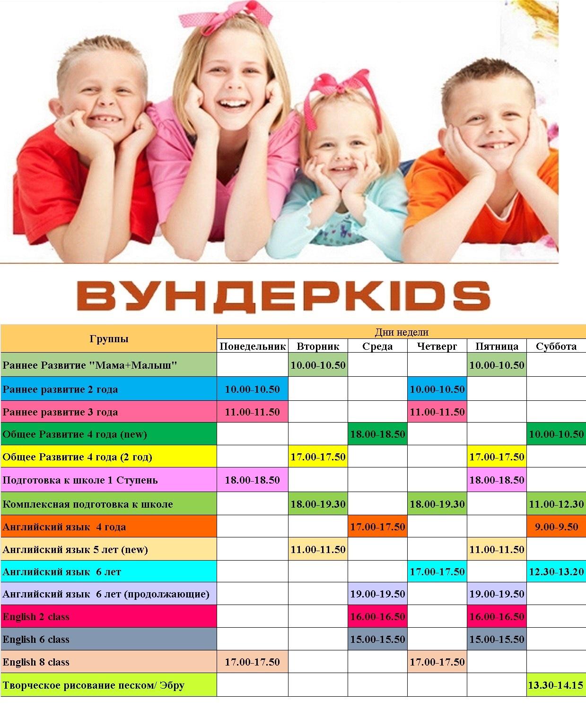 Расписание детского клуба Вундеркидс, Академгородок